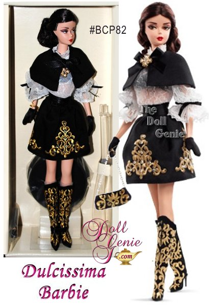 2014 Silkstone Dulcissima Brunette Barbie Doll designed by Robert Best - from the Italian Collection - Dulcissima Barbie doll wears a short black A-line skirt and matching cape tied with a satin ribbon bow. Elaborate golden embroidery embellishes the skirt, baguette purse, and tall boots. A lacy off-white blouse decorated with black bows completes this dramatic ensemble. The final perfect touches include golden brooch and elegant black gloves.