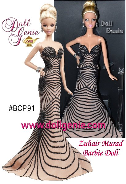 Zuhair Murad Barbie doll wears an exquisite re-creation of a Zuhair Murad design seen at a Hollywood premiere. Her strapless, nude-hued gown features dramatic, striped geometric design. A beautiful blonde updo and drop earrings complete the red carpet-ready look. Limited Edition, less than 7,500 worldwide