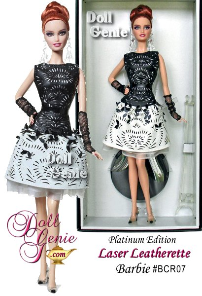 Black and White Collection Laser-Leatherette Dress Barbie celebrates our favorite fashion dolls bold elegance. She wears a striking black and white dress featuring a black bodice, cinched at the waist, and white full skirt. A laser-cut design lends a modern twist. Black and white spectator sandals and black, fingerless gloves complete our updated homage to the classic Barbie. Laser-Leatherette Dress Barbie is second in the Black and White Collection. Limited to only 1,000 worldwide