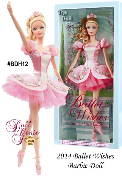 The 2014 Barbie Ballet Wishes Barbie is the second doll in the line. Pretty pirouettes and amazing arabesques make recitals absolutely enchanting. Ballet Wishes Barbie doll is the perfect gift for moms, daughters and budding ballerinas of all ages! This lovely ballerina is dressed in a sparkly pink tutu, tiara and ballet slippers. Doll stand included.