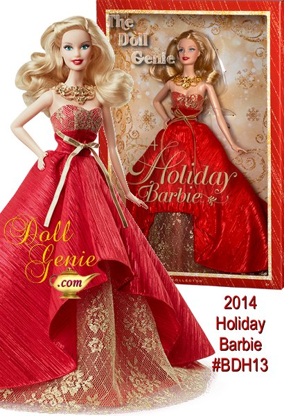 2014 Holiday Barbie (blonde version) - Barbie has been commemorating the holidays with a unique look for 25 years. This year she sparks the festivities up in a gorgeous gown that celebrates the season with the most glamour yet.