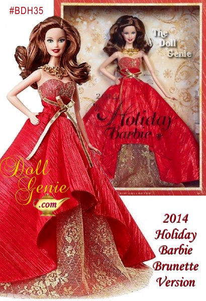 2014 Holiday Barbie (brunette version) - Barbie has been commemorating the holidays with a unique look for 25 years. This year she sparks the festivities up in a gorgeous gown that celebrates the season with the most glamour yet. Limited Edition