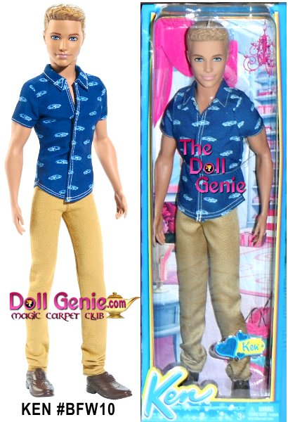 Consider this your personal invitation to party with the Fashionistas dolls! Dressed for a night of festive mixing and mingling, these stylishly handsome Fashionistas dolls are dressed for adventure. Ken doll sports his trademark golden tan and is dressed in a printed shirt, casual khakis and brown loafers. Dolls are dressed in cool and casual party clothes. Shirts and pants feature trendy designs and sporty prints.
