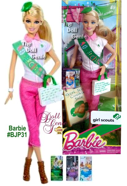 Girl Scouts Blonde Barbie Doll - This keepsake doll wears a Girl Scout-inspired outfit with plenty of Barbie signature style(think lots of pretty pink touches). Sweet accessories include a Girl Scout sash with insignia and badges, charming green Girl Scout beret, mini boxes of everyone's favorite Girl Scout Cookies and a handy bag imprinted with the 5 Skills girls learn through the Girl Scout Cookie Program. A pretty ponytail and hiking boots complete the fashionable look!