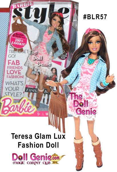 Barbie doll and her BBFFs - Barbie best friends forever - take street style to new heights of haute! Rooted eyelashes are eye-catching, and the totally fabulous fashions come with lots of luxe accessories. Teresa doll dons a polka dot denim jacket over her sweet lace dress and accessorizes with a chunky turquoise-colored statement necklace, matching bracelet and slouchy boots. Together, they're a fashion blogger's dream come true! Mix and match among friends.