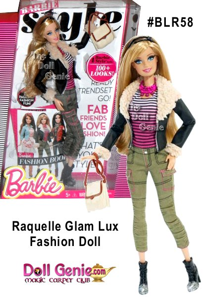 Barbie Glam Lux doll and her BBFFs - Barbie best friends forever - take street style to new heights of haute! Rooted eyelashes are eye-catching, and the totally fabulous fashions come with lots of luxe accessories. Raquelle doll rocks a casually cool statement with trendy top, spectacular scarf and contemporary-cut jeans tucked into short boots. Together, they're a fashion blogger's dream come true! Mix and match among friends.