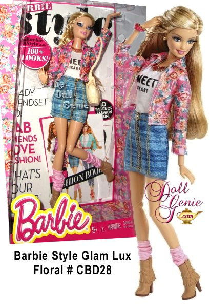 Barbie doll and her BFFs-Barbie best friends forever-take street style to new heights of haute. Rooted eyelashes are eye-catching and the totally fabulous fashions come with lots of luxe accessories. Barbie doll looks totally on-trend in a floral denim jacket look youll wish came in your size. Her blue plaid denim skirt looks fabulous paired with the pink floral print denim jacket. A white tank top with graphic print and brown fringe boots with pink slouchy socks are casually cool. Colorful jewelry and a tan boho bag complete the totally hip look. Collect other Barbie Style dolls (sold separately) to mix and match among the friends and fashions and create the perfect look-just like in real life. Then strike a trendy fashion pose. Barbie doll comes with a fashion look book featuring 10 pages of styling tips and ideas.
