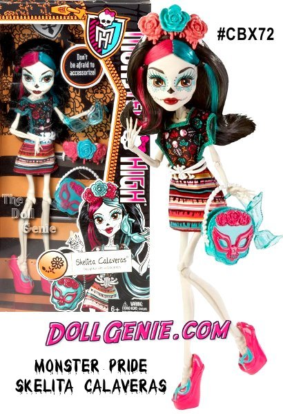 Monster High Monster Scaritage Skelita Calaveras Doll and Fashion Set: Monster pride means embracing your monster scaritage and screaming it loud! The Monster High ghouls love to advocate their ancestry with fangtastic fashions that are un-dead on! Daughter of the Eskeletos, Skelita rattles bones in her favorite Hexico-inspired outfit looking spooktacularly spooky.