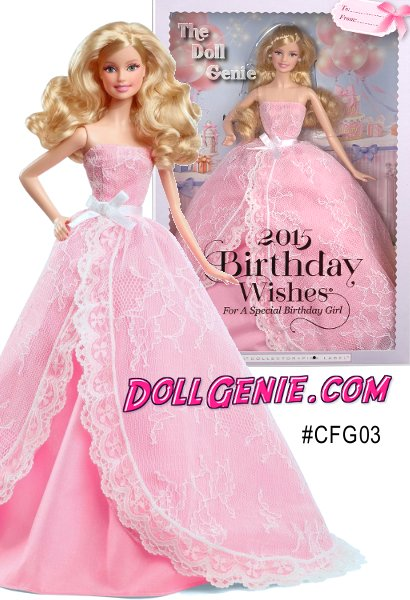 Let the celebrations begin! Birthday wishes come true with a 2015 Birthday Barbie doll dressed in a pretty pink gown decorated with sweet white lace and a ribbon sash tied in a beautiful bow. Like a present wrapped up in layers of dreamy tulle, Birthday Wishes Barbie doll makes birthdays special with hopes when you blow out the candles, all your dreams will come true! Doll stand and Certificate of Authenticity included. (Blonde Version)