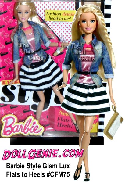 Barbie doll and her BFFs take street style to new heights of haute! Rooted eyelashes are eye-catching, hairstyles are fab and for the first time ever - the dolls have an articulated ankle, which means they can wear glam high heels or cute flat shoes! To let girls take advantage of the new feature right away, these dolls come with one pair of each one pair of heels and another of flats! Choose from Barbie (two different outfits), Raquelle and Teresa dolls in fashions so fabulous and on trend you'll wish they came in your size. Modern silhouettes, trendy prints and deluxe fabrics make for a fashion bloggers dream come true. Each look is completed with the perfect pieces for picture-perfect style, like glam jewelry or a fab bag -- it depends on the style. Mix and match among the friends and fashions (sold separately) to create a flawless look - just like in real life.