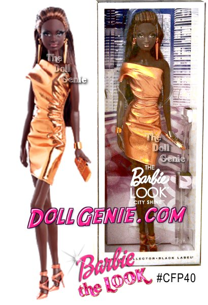 City Shine The LOOK Barbie Doll # CFP40 - She lives a life joyously and always fashionably. She models the perfect look and that unstoppable attitude wherever she goes. Stylishly stunning, Barbie dolls closet contains quintessential ensembles for every event. No matter how bright the party, this brilliant Barbie outshines the crowd! This City Shine Barbie Doll wears a bold bronze dress complimented with the perfect accessories.