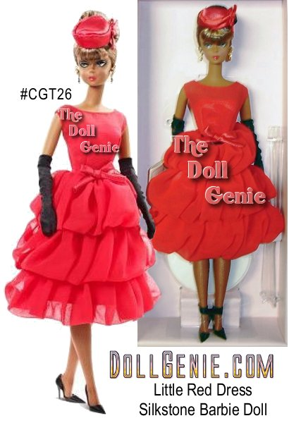 Mattel # CGT26 Little Red Dress Silkstone Barbie (African American doll) is simply stunning in an ensemble with dramatic details and highly detailed accessories. Ready to make a grand entrance at the next soire, Barbie doll wears a red lipstick colored cocktail dress with tiers of flirty chiffon. Star-worthy accessories include a coral satin cocktail hat with feather trim, black stretch charmeuse shirred evening gloves, along with golden rhinestone earrings and a matching floral cuff. The finishing touches include a pair of glossy stiletto pumps and a glamorous updo. Limited Edition, designed by Robert Bestrn