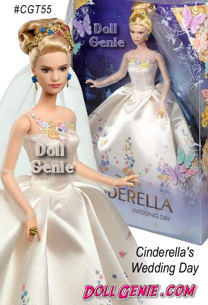 A beloved fairy tale comes to life in Disney's new Cinderella live action movie! This exquisite Disney Cinderella Wedding Day Barbie doll #CGT55 celebrates the glorious occasion when her dreams come true. Ella wears a white satin gown with romantic floral design on the bodice and skirt, sheer long sleeves, pleated waist, and a flowing drape. Luxurious accessories include a golden tiara with multicolor gems, coordinating teardrop earrings and a large, regal wedding ring. The breathtaking bride will delight girls, moms, collectors and fans of the movie.