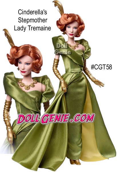 A beloved fairy tale comes to life in Disney's new Cinderella live action movie and one of the most pivotal characters has been exquisitely crafted as a fashion doll! Cinderellas Stepmother Lady Tremaine is elegant in a head to toe green satin dress. The pleated bodice sweeps around her back creating a high collared, modern silhouette. Golden gloves, coordinating necklace and a feathery headpiece enhance her wicked glamor.