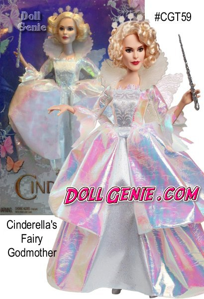 A beloved fairy tale comes to life in Disneys new Cinderella live action movie and one of the most pivotal characters has been exquisitely crafted as a fashion doll! Cinderella's fairy godmother wears an 18th Century style white dress with colorful luminescent tones, shimmering star accents and holds a silvery wand. She's beautiful!