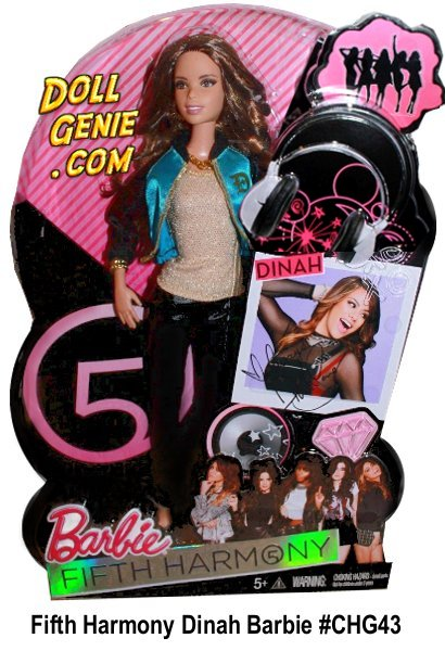Fifth Harmony Dinah Jane Hansen Barbie Doll # CHG43 - Dinahs chic swag is brought to life with her dolls fun fashions. Always showcasing bling and color, Dinahs doll wears a blue and black color block jacket over a gold shirt, black leather pants and anything but basic black stilettos.