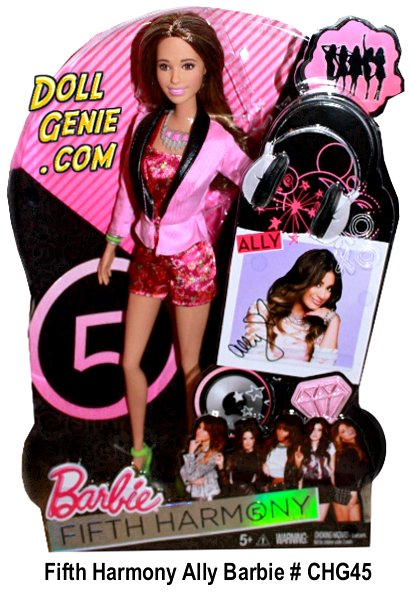 Fifth Harmony Ally Brooke Hernandez Barbie Doll # rnAllys doll is a star in a fun and flirty floral jumpsuit complemented by a pink tuxedo jacket. Sporting a metallic silver necklace with pink jewels, her spunky signature style is finished off with neon green heels and a matching green bracelet.