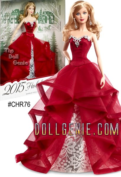 Continuing a beloved yearly tradition thats endured for more than 25 years, this keepsake 2015 Holiday Barbie doll (blonde version) is festively dressed to ensure this will be the most glamorous season of all. Inspired by merry colors and jingling bells, Barbie wears a dramatic garnet-colored gown with cascading ruffles and an underskirt of silvery foil brocade. Her hair has glamorous loose curls that showcase a pair of ornate earrings. Comes in premium gift-able packaging with an exquisite three dimensional holiday tree. Its perfect for making holiday wishes come true for girls of all ages!