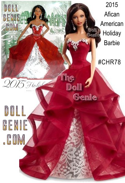 Beautiful African American Barbie in a classy, red, elegant holiday gown. Continuing a beloved yearly tradition thats endured for more than 25 years, this keepsake 2015 Holiday Barbie doll (AA version) is festively dressed to ensure this will be the most glamorous season of all. Inspired by merry colors and jingling bells, Barbie wears a dramatic garnet-colored gown with cascading ruffles and an underskirt of silvery foil brocade. Her hair has glamorous loose curls that showcase a pair of ornate earrings. Comes in premium gift-able packaging with an exquisite three dimensional holiday tree. Its perfect for making holiday wishes come true for girls of all ages!