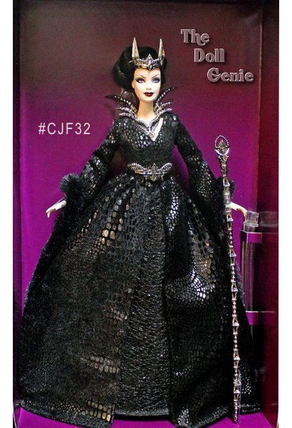 Third doll in the Faraway Forest Barbie Collection, the Queen of the Dark Forest Barbie #CJF32 is a mysterious beauty wearing a stunning black gown with a deep V neckline, foil-printed fabric and trumpet sleeves edged in faux fur. Her neckpiece, belt, boots and crown incorporate skeletal motifs, while the magnificent scepter features a stone accent. Designed by Bill Greening