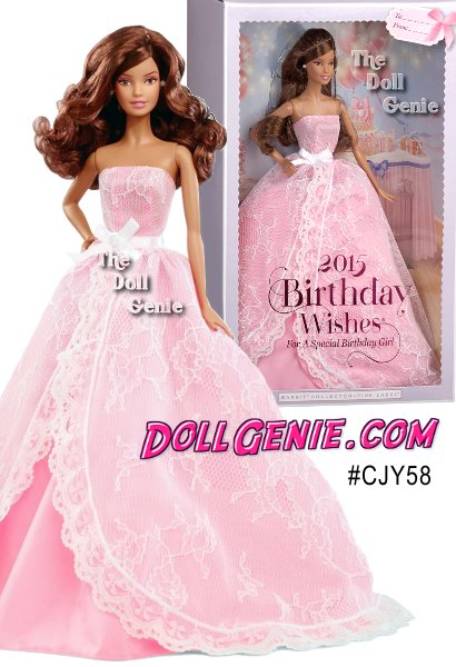 Let the celebrations begin! Birthday wishes come true with a 2015 Birthday Barbie doll dressed in a pretty pink gown decorated with sweet white lace and a ribbon sash tied in a beautiful bow. Like a present wrapped up in layers of dreamy tulle, Birthday Wishes Barbie doll makes birthdays special with hopes when you blow out the candles, all your dreams will come true! Doll stand and Certificate of Authenticity included. (Latina Version)