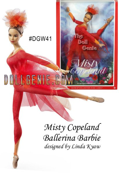 As the first African American female Principal Dancer with the prestigious American Ballet Theatre, Misty Copeland is an inspirational star, paving the way for future dancers all over the world! Her fire red bodysuit, with sunburst orange tulle cutouts, stretches over her perfectly poised body, while layers of red and orange tulle tease a luxurious red tail. A vibrant tulle headpiece tops off her elaborate look, adding drama and flair. The doll features a brand-new ballerina body, with a face sculpted to Misty's likeness! - Limit One Per Order