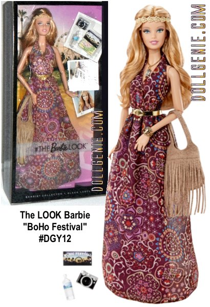 She lives life joyously and always fashionably. She models the perfect look and that unstoppable attitude wherever she goes. She's wearing a paisley printed chiffon maxi dress with a gold etched headband, earrings, gold crystal pendant necklace, taupe boho fringe bag, bouquet, ring, shoes and comes with festival essentials: Ticket, water bottle, camera. Barbie dolls closet is packed, so our photogenic Barbie always flashes unforgettable style and a brilliant smile!