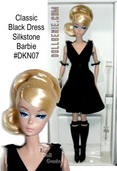The Barbie Fashion Model Collection takes a look back at timeless couture and adds a twist to create the New Classics Collection. What is more  desirable than the little black dress? Dramatic deep V neckline and feminine bows at the shoulders bring an air of modern chic that is so unique. Her on-trend tall boots complete her stylish look! For the first time ever, this BFMC collection features a poseable Silkstone body for endless posing possibilities. No more than 10,000 worldwide