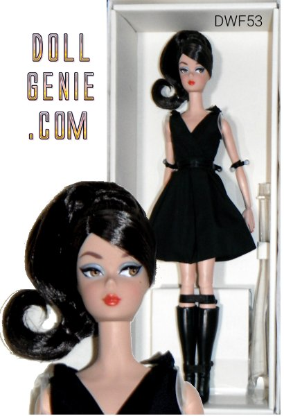 2017 BFMC Silkstone Barbie Classic Black Dress designed by Robert Best. The little black dress is a staple in any sophisticated wardrobe. Barbie wears this classic black dress with an air of modern chic, this time featuring a brunette 'do. The 2016 BFMC series features a posable Silkstone body for the first time, offering endless posing possibilities!