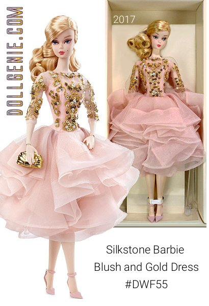 The Barbie Fashion Model Collection takes a look back at timeless couture and adds a twist to create the New Classics Collection. A cocktail dress has never been so enchantingly romantic. Blush-colored organza and tulle ruffles gracefully drape like rose petals against a rich taffeta lining. Luxurious golden embroidery with rhinestone and sequin embellishments lavishly adorns her elegant bodice. This BFMC collection features a poseable Silkstone body for endless posing possibilities. Now in Stock!