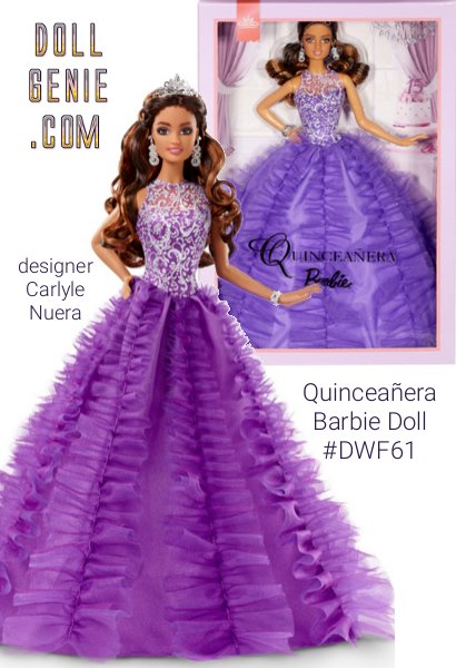 Feliz Quinceaera! From the beautiful ceremony presenting a young woman to family and friends, to the elaborate festivities, Quinceaera Barbie doll is excited to celebrate a young woman's 15th birthday. This beautiful doll makes the perfect keepsake to mark this special day and celebration. SHe is wearing a royal purple quinceaera era gown with vertical tulle accents. The bodice features sheer overlay with silver holographic glitter print and she ia accessorized with gem-drop earrings, silvery tiara, bracelet, and shoes.