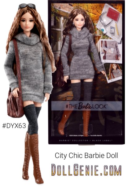 She's your most fashionable friend, always in-the-know, both endlessly inspired and inspiring. The Look City Chic Barbie doll makes fashion fun, taking cues from international runways and street style looks on every corner. She couples her enviable wardrobe with an active imagination to create personal style that begs to be photographed. The Barbie Look City Chic doll wears a sweater dress, tall socks and tall brown boots for a look that rocks city chic style. Noteworthy accessories complement her on-trend outfit. A style icon for the digital age, follow her everyday adventures with barbie style.