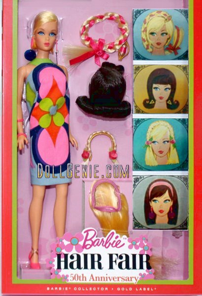 50th Anniversary Barbie Hair Fair - In the late 1960s, the hot trend was hair! From big hair to ever-changing hairstyles, even Barbie embraced this mod fashion trend in 1967. Shes hard to come by for vintage collectors, but soon youll be able to get a 50th Anniversary Barbie Hair Fair Doll reproduction for your collection! Heres your first look at the vintage repro of this popular doll, which includes re-creations of her fashions and accessories.