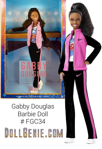 When Gabby Douglas was just three years-old, her older sister showed her how to do a cartwheel. The little girl flipping around her house would later become the first woman of color to win the individual all-around competition for gymnastics. Her confidence, work ethic and belief in herself make her an extraordinary role model to girls. The Gabby Douglas Barbie doll celebrates the extraordinary accomplishments of this inspiring athlete and earns her role as a Barbie Shero honoree, a female hero inspiring girls by breaking boundaries and expanding possibilities for women everywhere.  Shes fully poseable in her signature stars and stripes leotard, and coordinating team warm up suit. Whether she is training at the gym or dazzling the crowd during competition, Gabby has earned her spot as a true Shero!