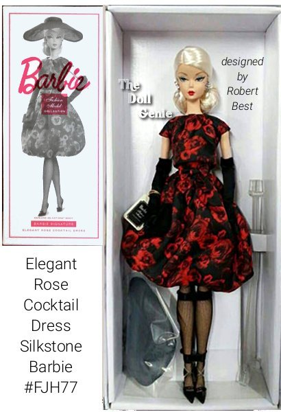 Elegant Rose Cocktail Dress Barbie Doll wears a sophisticated rose print bubble dress, fashioned of soft charmeuse with a foldover pleated neckline and cap sleeves. A self-fabric belt and bow cinches the waist. Snaps fasten the back. A wide-brimmed hat of sheer black organza balances the silhouette. All black accessories include opera length gloves, high heels, stockings and a soft black clutch. Over-sized pearl and sparkle earrings compliment Barbies platinum blonde hair and complete the ensemble. Genuine Silkstone body. A newly designed Barbie Signature box enhances the Elegant Rose Barbie presentation. Designed by Robert Best Limited to less than 20,000 worldwide