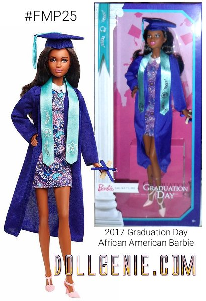 Congratulations Graduates! You set your sights on your dreams and worked hard to achieve them! This is just the beginning of the exciting adventure! What better way to commemorate this special graduation celebration than with this beautiful Graduation Day Barbie doll. She is wearing a royal blue graduation cap and gown with a collared floral dress.  Additional details include a delicate tassel on the cap, a light blue graduation stole and a rolled up