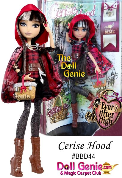 Ever After High Cerise Hood Doll: Cerise Hood, daughter of Little Red Riding Hood is a bit of a lone wolf but is fiercely loyal to her best friends forever after! One of the Ever After Rebels who supports Raven Queen, she wants to rewrite her destiny in a big, bad way. Cerise doll rocks hexquisite outfits that add a modern edge to her fairytale inspired look. Her charming dress showcases Cerises signature buffalo check print with its silver foil lace sleeves. Distressed leather leggings, lace-up boots with fringe tassles and a picnic-basket purse are enchanting accessories. And of course, Cerise doll wears her luxe cape - satin red with a branch print, chain brioche closure and hood (to hide her big, bad secret). Cerise Hood doll also comes with a doll stand, doll hairbrush and bookmark that tells her exclusive side of the story.