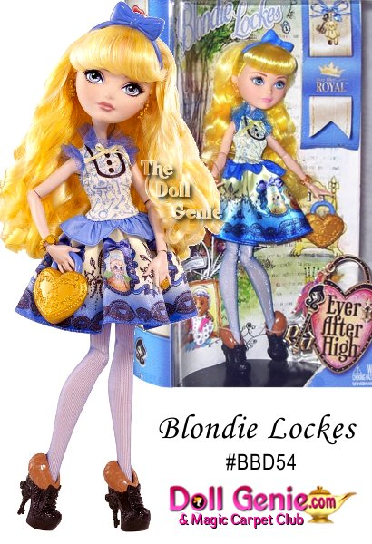 Ever After High Blondie Lockes Doll: Start a new chapter with Ever After High, where the teenage sons and daughters of famous fairytales decide whether or not to follow in their parents fabled footsteps. Ever in search for whats just right, Blondie Lockes, daughter of Goldilocks, is best friends until THE END with the Ever After Royals. Her fashion sense, however, is always spot on and she can always be found in a spellbinding fashion. Her dress is positively perfect with its three buttons, ruffle collar and mixed prints: keys on top, the three bears on the bottom. Charming accessories include a lock-inspired purse, charm bracelet, bow headband and periwinkle tights. Furry heels with a unique key shape put the final ending on an enchanting fashion tale! Blondie Lockes doll also comes with a doll stand, doll hairbrush and bookmark that tells her exclusive side of the story.