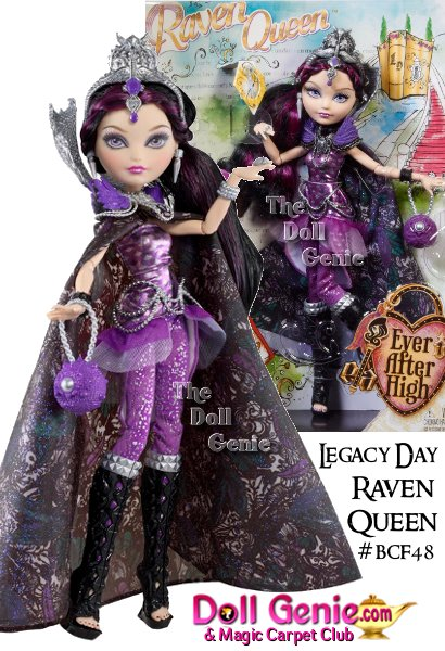 Raven Queen doll looks wicked awesome from crown-to-toe wearing her iconic silver collar, spellbinding cape and ornate crown a doll stand, doll hairbrush and book to store spellbinding accessories! Raven Queen, daughter of the Evil Queen, is ready to rewrite her destiny in her wicked awesome Legacy Day lookRocking her signature purple and black hues, Raven doll is wearing an hexquisitely detailed cape, a silver chain belt and purple ruffles that add some softness to this Ever After Rebels edge. Tall, black and silver peep toe heels combined with her ornate silver crown and iconic high collar complete her epic look.