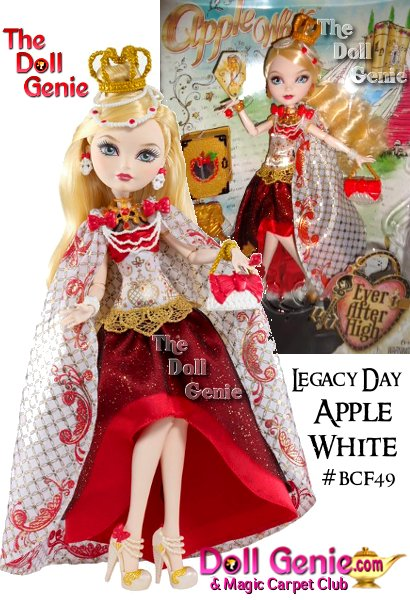 Apple White, the daughter of Snow White, is positively charming in a floor-length gown and cape in her signature colors and with royal embellishments. Apple doll also comes with a doll stand, doll hairbrush and book to store spellbinding accessories! Apple White, daughter of Snow White, is hexcited to follow her Happily Ever After in her royally radiant Legacy Day look! Filled with anticipation, Apple White doll positively charms in a floor-length gown rich with red and gold details and a luxe cape that is only fitting for such an epic event. A golden crown headpiece with pearl beading and ornate sweetly accessorize this Queen bees outfit, which is finished off with perfect pearl and gold heels with an apple red bow and delicate ankle straps.