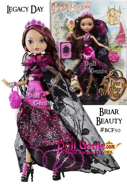 Briar Beauty, daughter of Sleeping Beauty, is ready to seize this Legacy Day in her hexquisite rose-inspired cape and gown! Briar's dreamy gown and cape feature her signature pink and black colors and are rich with rose embellishments and spellbinding silver details. Her beautiful crown and necklace sweetly accessorize her look, which is completed with her rose purse and strappy heels. Her floor-length cape adds sparkle with silvery accents and femininity with a floral print that is showcased with a pink flower-shaped purse and strappy platform wedges. Each doll also comes with a key (to safeguard her secrets) and a bookmark that tells her special story.