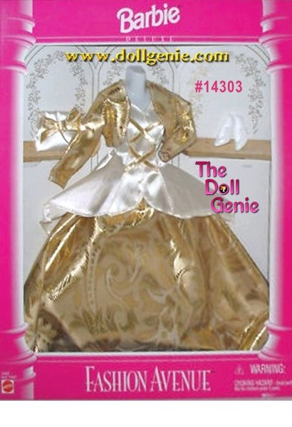 Fashion Avenue Barbie Gold and White Gown and accessories