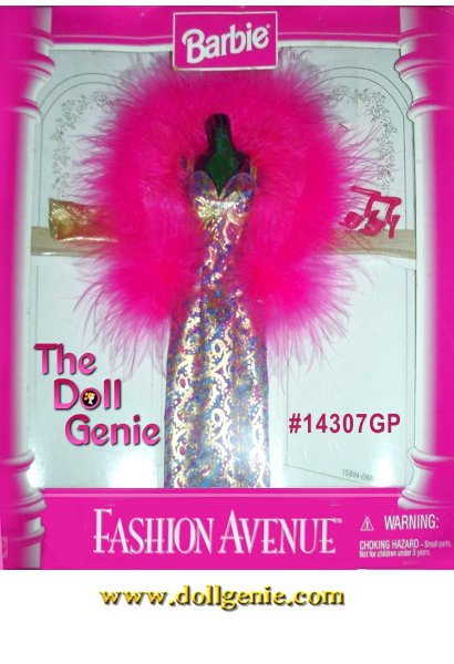 Barbie Fashion Avenue Gold Gown and Pink Fur with Accessories Set