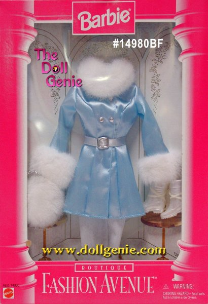 Barbie Fashion Avenue Blue Coat and White Fur Winter Clothing & Boots Set