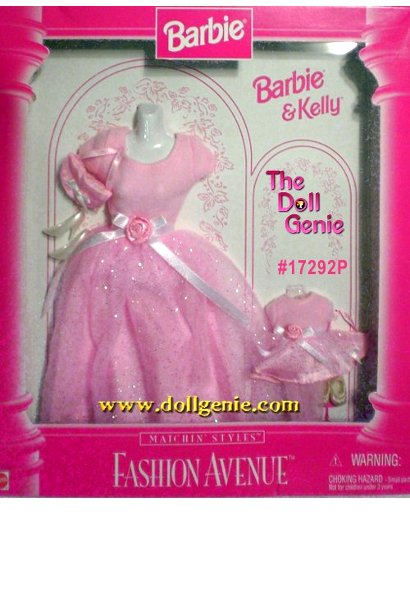 Fashion Avenue Barbie and Kelly Matching Pink Gown Set with accessories