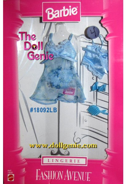 Barbie Fashion Avenue Short Blue Lingerie and Accessories Set