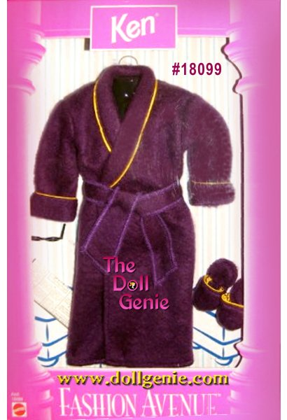 Ken Fashion Avenue Purple/Burgundy and Gold Trim Bathrobe and Slippers Set