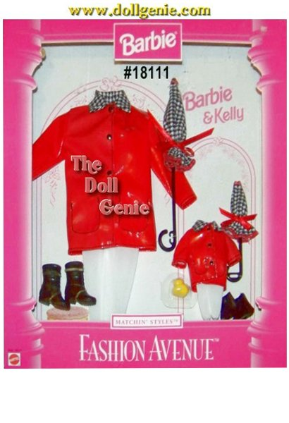 Fashion Avenue Barbie and Kelly Matching Red Raincoat and Accessories Set