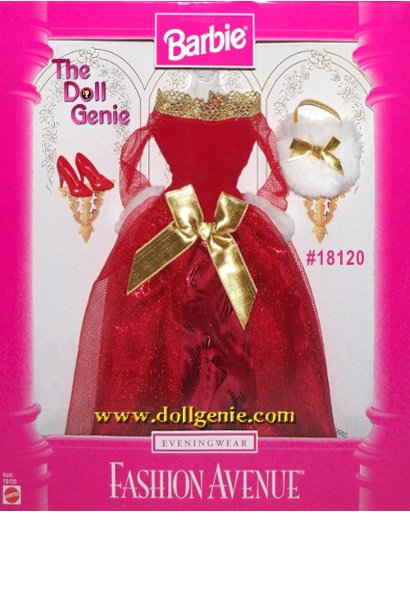 Fashion Avenue Barbie Red and Gold Gown with Accessories