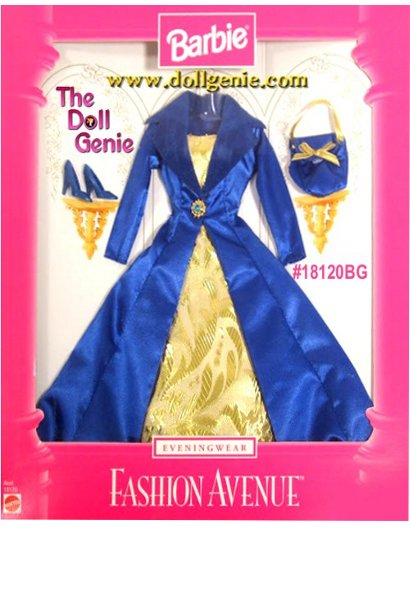 Fashion Avenue Barbie Blue and Gold Evening Gown and Accessories Set